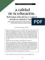 La Calidad de La Educación. Reformas Educativas y Control Social en América Latina