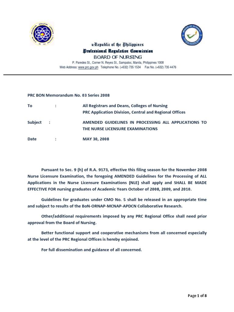 Prc bon memorandum no3s08 nle amended guidelines nursing prc bon memorandum no3s08 nle amended guidelines nursing academic degree yelopaper Images