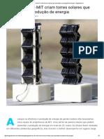 Engenheiros Do MIT Criam Torres Solares Que Aumentam a Produção de Energia - Engenharia é