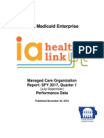 Iowa Medicaid Enterprise Managed Care Organization Report