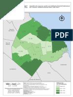 Superficie de espacios verdes por habitante (ha/mil habitantes) por comuna