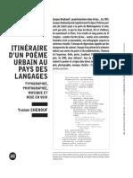 ITINÉRAIRE  D'UN POÈME  URBAIN AU  PAYS DES  LANGAGES