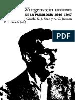 Ludwig Wittgenstein. P. T. Geach Editor. Lecciones de Filosofía de la Psicología 1946-1947. Apuntes de P. T. Geach, K. J. Shah y A. C. Jackson
