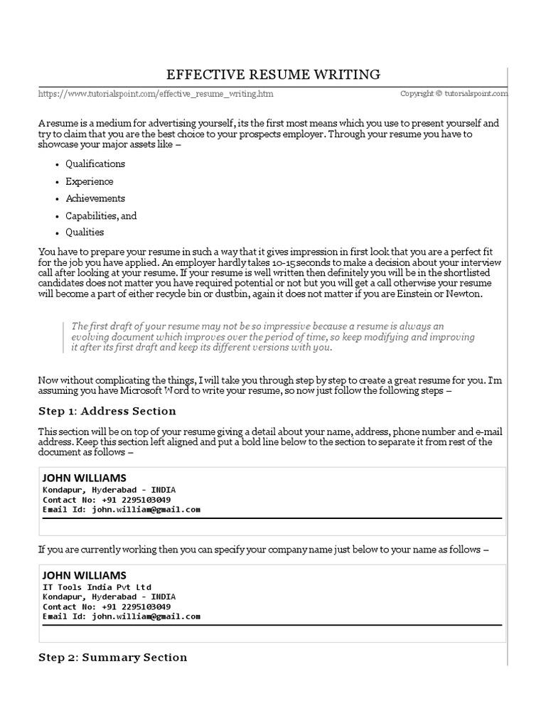 Effective Resume Writing | Résumé | Curriculum