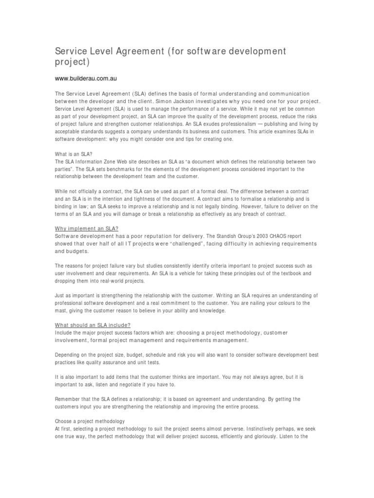 Service Level Agreement Service Level Agreement Software