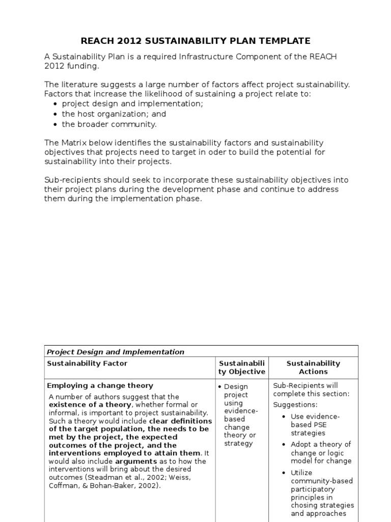 Sustainability Plan Template Sustainability Evaluation