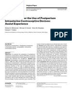 Acceptability for the Use of Postpartum Intrauterine Contraceptive Devices