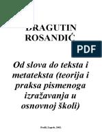 Rosandić, Dragutin_ Od Slova Do Teksta i Metateksta