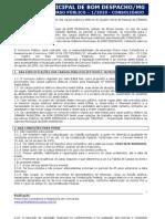 Edital do concurso da Câmara Municipal de Bom Despacho (consolidado em 23-6-2010)