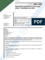 NBR 14800 - Reservatorio Poliolefinico Para Agua Potavel - Instalacao Em Obra