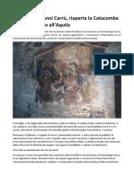 Monsignor Gianni Carrù Riaperta La Catacomba Di San Vittorino All Aquila