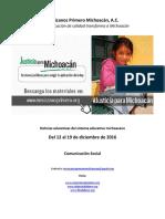 Noticias del Sistema Educativo Michoacano al 19 de diciembre de 2016.
