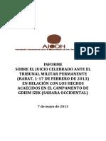 INFORME  SOBRE EL JUICIO CELEBRADO ANTE EL  TRIBUNAL MILITAR PERMANENTE  (RABAT, 1-17 DE FEBRERO DE 2013)