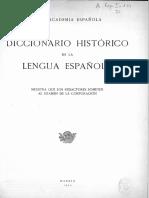 Muestra del diccionario histórico de la lengua española