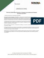 14-12-16 Reconoce Gobernadora Pavlovich a Congreso por aprobación de Paquete Económico para 2017. C-121667