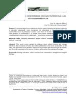 TURISMO CULTURAL COMO FORMA DE EDUCAÇÃO PATRIMONIAL PARA AS COMUNIDADES LOCAIS