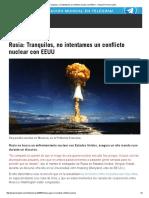 Rusia No Intenta Un Conflicto Nuclear Con EEUU