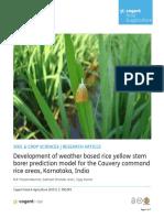 Development of Weather Based Rice YellowStemborer