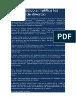 5.- Nuevo Código Simplifica Los Tramites de Divorcio