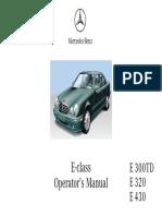 Mercedes-Benz E-class Operator's Manual 1998