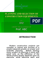 Planning and Selection of Construction Equipment's
