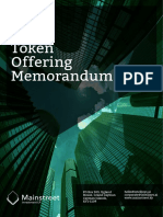 Mainstreet Investment LP - Initial Token Offering Memorandum