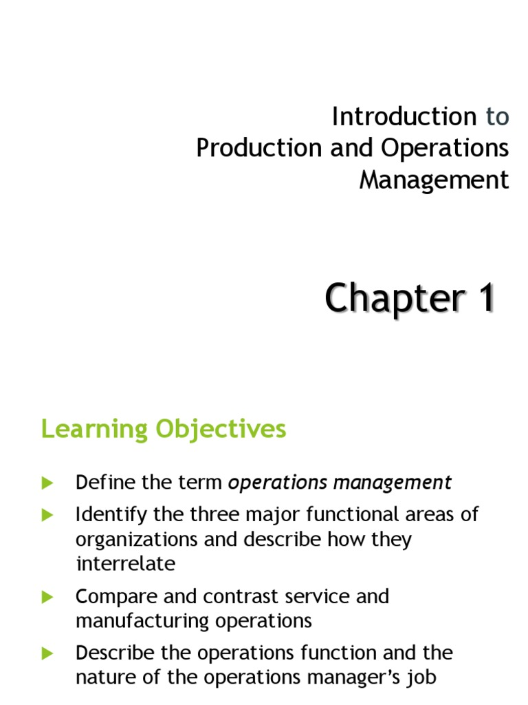 operations management 1st chapter by stevenson The eleventh edition of stevenson's operations management and auto-gradable end of chapter problems and application support for 'doing operations' than.