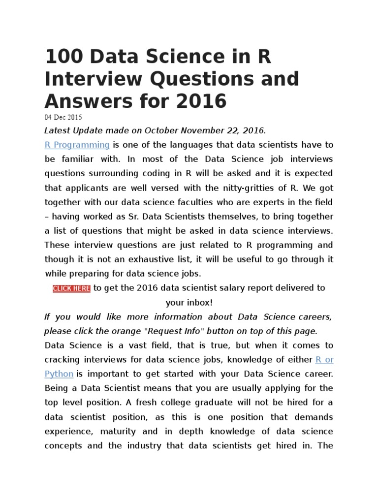100 Data Science In R Interview Questions And Answers For 2016 | R  (Programming Language) | Regression Analysis