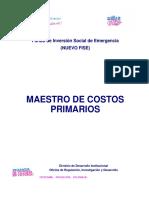 Maestro Costos Unitarios Primarios Fise