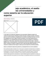 Chomsky, N. Sobre El Trabajo Académico El Asalto Neoliberal a Las Universidades y Cómo Debería Ser La Educación Superior