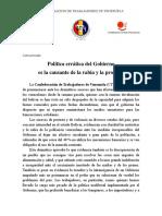 Comunicado de la Confederación de Trabajadores de Veenzuela