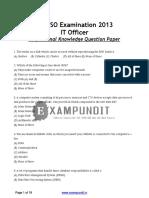 2013 IBPS SO IT Officer Exam