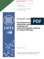 Procedimiento Para La Elaboracion y Gestión de Los Certificados de Calibración INTI