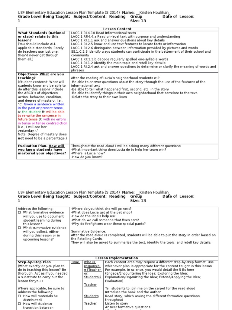 Lucias Neighborhood Lesson Plan Lesson Plan Teachers - Reading group lesson plan template