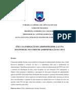 Ética Na Formação Do Administrador Lacuna Encontrada No Curso de Administração Da Ufcg