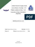 Relatório de Física Experimental II  - Refração Da Luz