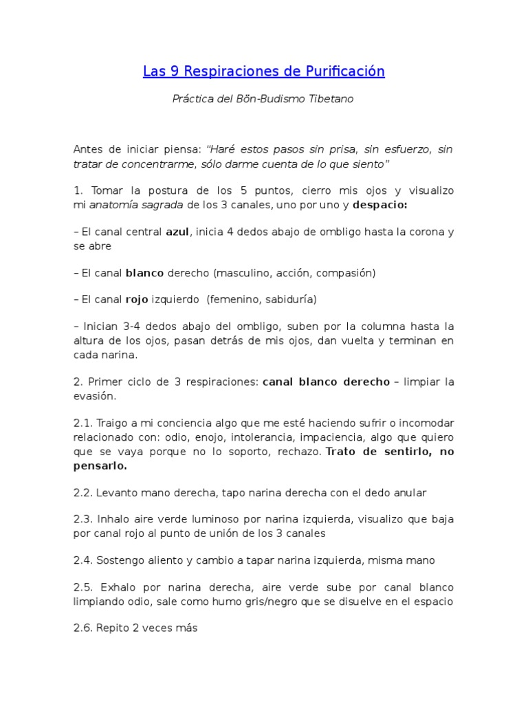 Las 9 Respiraciones de Purificación