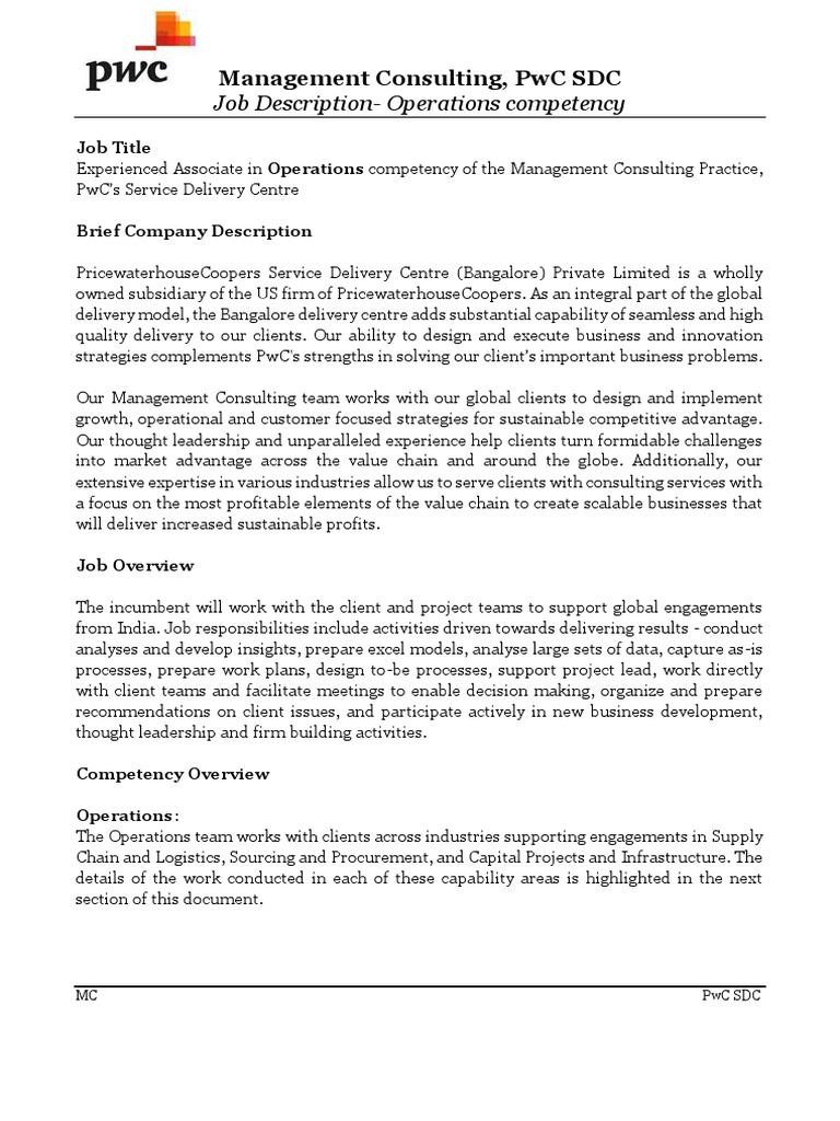 job at bedly campus jd fy17 pwc operations logistics procurement operations associate job description - Production Associate Job Description