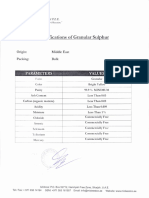 Specifications of Granular Sulfur Midwest