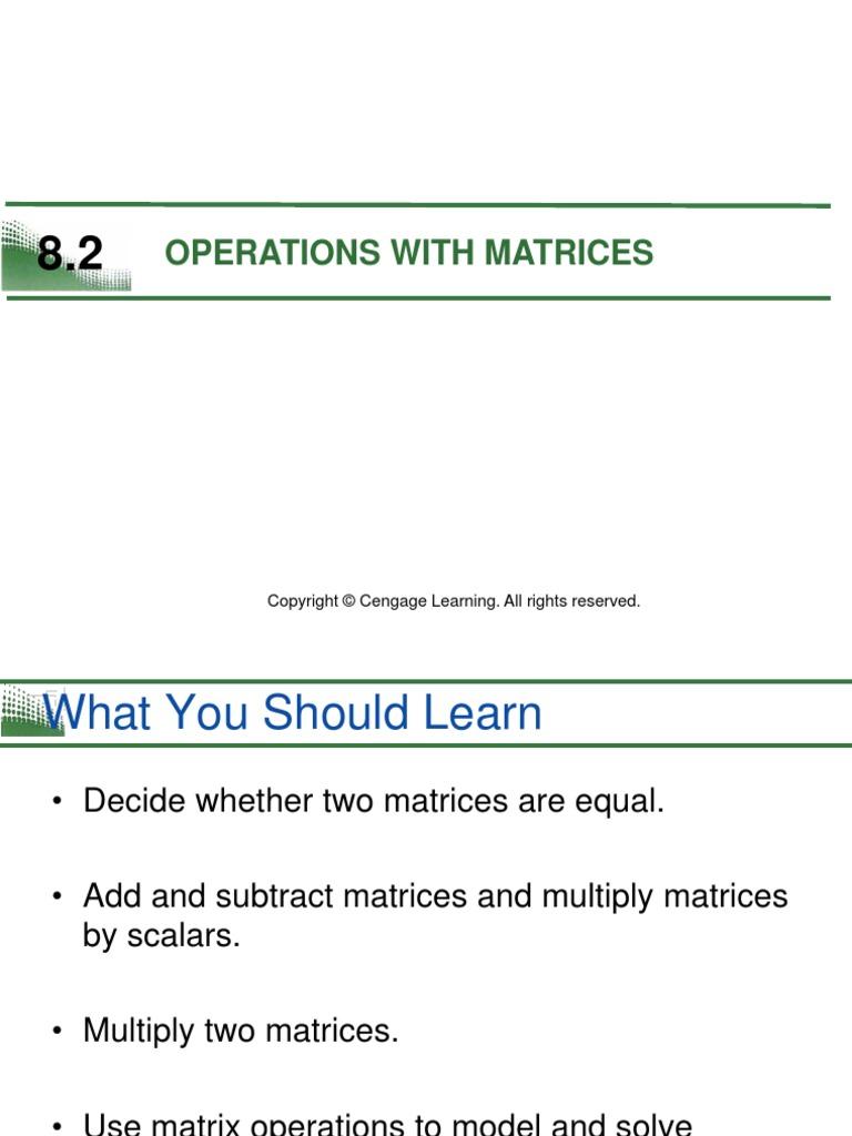 Operations With Matrices | Matrix (Mathematics) | Algorithms