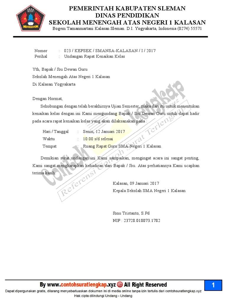 Contoh Surat Dinas Undangan Rapat Sekolah
