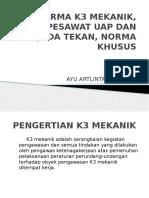 Norma k3 Mekanik, Pesawat Uap Dan Bejada