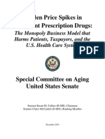 Senate Aging Report Sudden Price Spikes in Off Patent Prescription Drugs