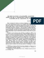 Redondo, Agustín - De don Clavijo a Clavileño - Algunos aspectos de la tradición carnavalesca y cazurra en el Quijote (II, 38-41)