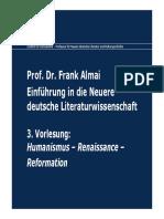 3. Vorlesung Humanismus Renaissance Reformation