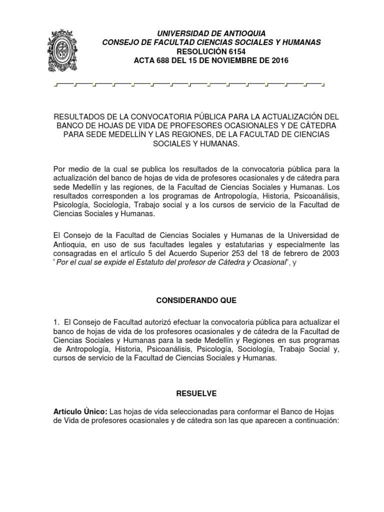 6154-688 Resultados Convocatoria Actualización Hojas de Vida 2016-2