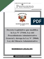 DECRETO LEGISLATIVO N° 1272 que modifica Ley 27444 y deroga Ley 29060