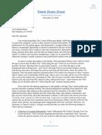 Sen. Al Franken (D-Minn.) letter to Uber CEO Travis Kalanick on November 2016 Uber app location data gathering changes.