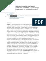 Dezvoltarea Și Validarea Unei Metode UPLC Pentru Determinarea Reziduurilor de Clorhidrat de Duloxetina Pe Suprafețele Echipamentelor de Producție Farmaceutică