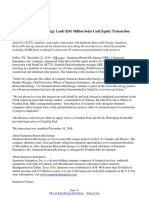 Sammons Renewable Energy Leads $241 Million Solar Cash Equity Transaction with SolarCity